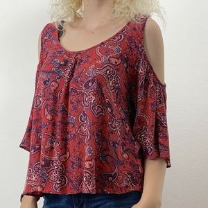 Mossimo Womens M Blouse Cold Shoulder Red Blue